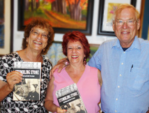 Julie and Rudi with Fran Trant, who bought three copies of the book at Once Upon a Canvas in Benicia as gifts. (Go Fran!)